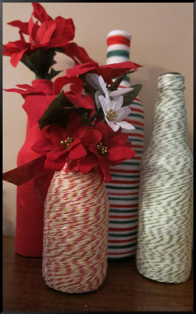 Yarn wrapped bottles
