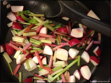 radish and swiss chard stir-fry